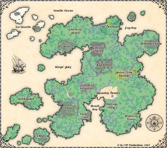 Tibia World Map.Large Tibia Map